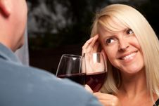 Free Blonde Socializing With Wine Glass Royalty Free Stock Image - 9594696
