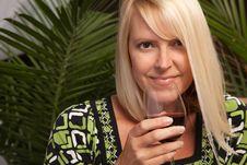 Free Beautiful Blonde Enjoying Wine Royalty Free Stock Photo - 9594705