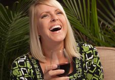 Free Beautiful Blonde Enjoying Wine Stock Photos - 9594713