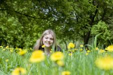 Free Girl Lying In A Meadow Stock Images - 9595844