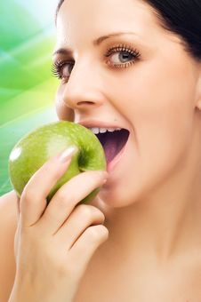 Free Young Woman Eating Apple Royalty Free Stock Photography - 9597057