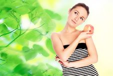 Free Young Woman With Apple Stock Photos - 9597063