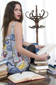 Beautiful Secretary Sitting In Her Desk Surprised Royalty Free Stock Image