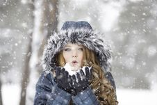 Free Woman Wearing Fur Hood In A Snow Storm Royalty Free Stock Photography - 95931657