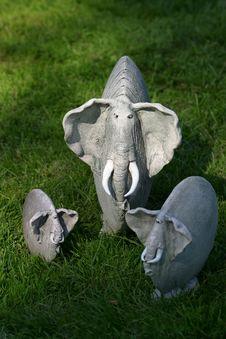 Three Clay Elephants Royalty Free Stock Photo