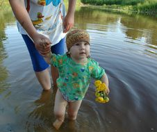 Bathing Of Little Girl Stock Photo