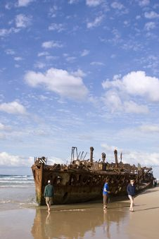Maheno Ship Wreck On Fraser Island Stock Photo