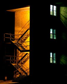 Free Stairway At Night With Windows Royalty Free Stock Image - 968156