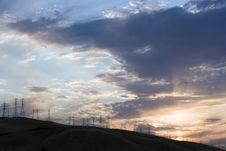 Free Powerlines And Sunset Royalty Free Stock Photo - 969165