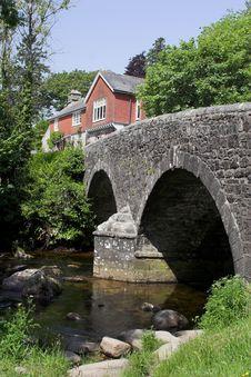 Bridge & Cottage & Stream Royalty Free Stock Image