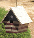 Free Bird House.  Red, White, Blue USA Dwelling. Stock Photography - 9608522