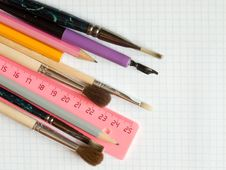School Supplies  On Squared Sheet Royalty Free Stock Image
