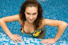 Beautiful Girl In Swimming Pool Royalty Free Stock Image
