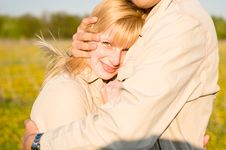 The Loving Couple Embraces Stock Photo