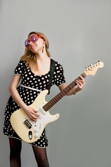 Free Young Woman With Guitar Royalty Free Stock Images - 9603069