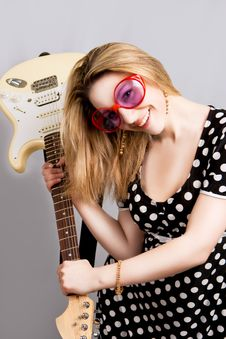 Girl Having Fun With Guitar Stock Photos