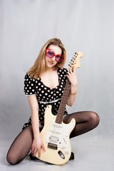 Pretty Woman With Guitar Stock Photography