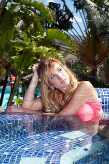 Free Woman With Pink Bikini Royalty Free Stock Image - 9603636