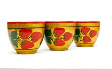 Three Painted Russian Cups  Isolated Royalty Free Stock Photography