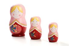Free Family Of Three Russian Dolls Royalty Free Stock Image - 9604156