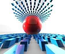 Free Red Ball  Blue Cubes Stock Photography - 9604452