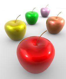 Apples In Multicolors Stock Image