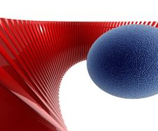 Red Pillars With Blue Ball Stock Photography