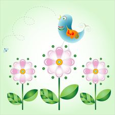Free Bird On Flowers Royalty Free Stock Photos - 9605428