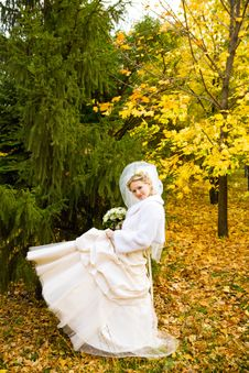 Free Bride Dance  In Autumn Royalty Free Stock Photos - 9606078