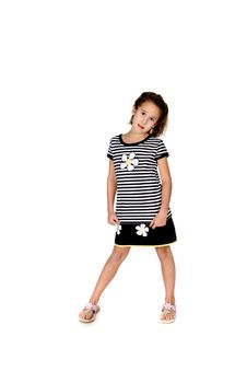 Free Cute Girl With Black And White Fashion Outfit Royalty Free Stock Image - 9606856