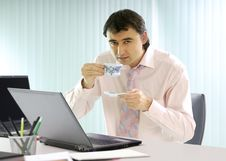 Free Businessman Has A Coffee Break Royalty Free Stock Photo - 9607005