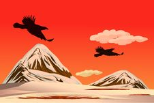 Free The Eagles Fly Over The Snow Mountain Royalty Free Stock Photos - 9608388