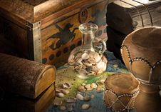 Wooden Chests With Jug And Sea Shells Royalty Free Stock Image