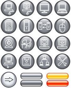 Free Web Icons Set - Hardware (Vector) Royalty Free Stock Photography - 9609227