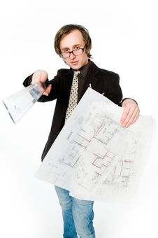 Free Young Architect With Sketch And Ruler Stock Photo - 9609460