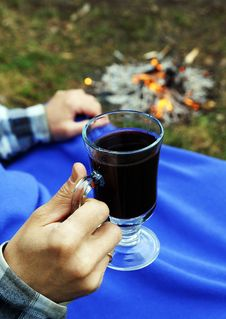 Hot Mulled Wine At A Picnic Royalty Free Stock Photo