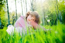 Free Beautiful Girl With Dandelion Royalty Free Stock Photo - 9609615