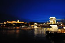 Szechenyi Chain Bridge And Buda Castle At Night Royalty Free Stock Photo