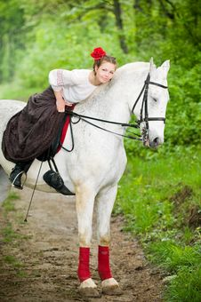 Free Beautiful Girl With Horse Stock Photography - 9609742