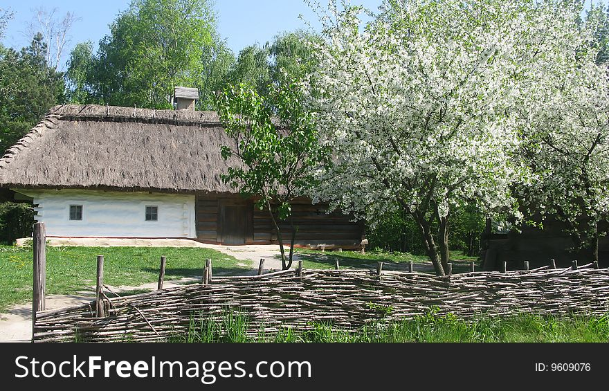 Country. Ukrainian country. Wooden house. Wattled