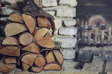 Free Stacked Firewood On Hearth Stock Photo - 96055050