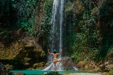 Free Man In Yoga Pose By Waterfall Royalty Free Stock Photos - 96055068