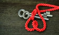 Free Red Rope With Silver Keys Stock Photos - 96055193