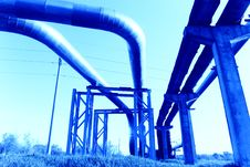Free Industrial Pipelines Against Blue Sky. Stock Photos - 9610043