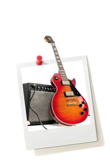 Free Instant Photo Print And Electric Guitar Stock Image - 9610461
