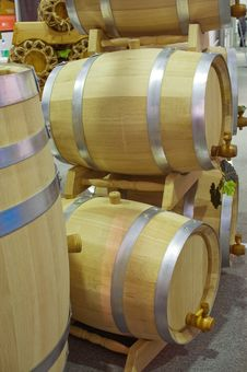 Oak Flanks For Wine. Royalty Free Stock Photo