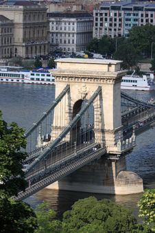 Free Pillar Of Szechenyi Chain Bridge Royalty Free Stock Photos - 9612348