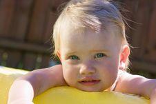Free Little Girl In Yellow Pool Stock Photo - 9615240