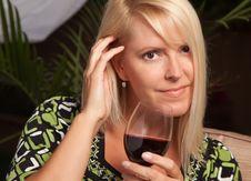 Free Beautiful Blonde Woman Enjoying Wine Royalty Free Stock Photos - 9615428