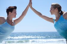 Free Yoga Woman Holding Hands In Blue Stock Image - 9615991